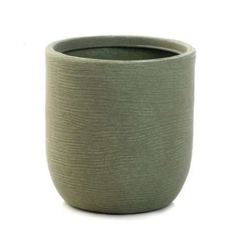 "Shabby Round Planter- 14""W,, Oxford Green (min.6pcs)"