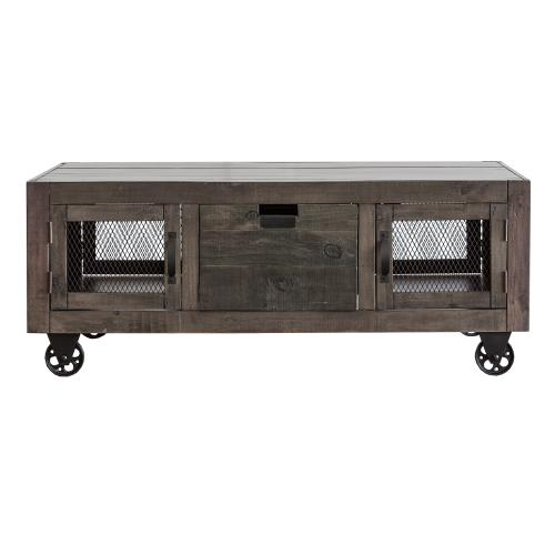 Industrial Rectangular Storage Coffee Table in Gray