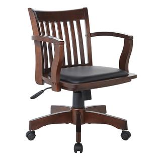 See Details - Deluxe Wood Banker's Chair With Vinyl Padded Seat In Espresso Finish