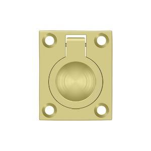 "Flush Ring Pull, 1-3/4"" x 1-3/8"" - Polished Brass"
