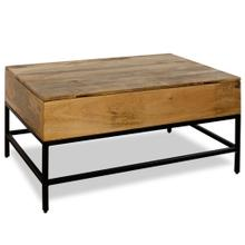SOLID MANGO WOOD  18ht X 36w X 26d  Split Lift Top Storage Coffee Table in a Light Natural Stain F