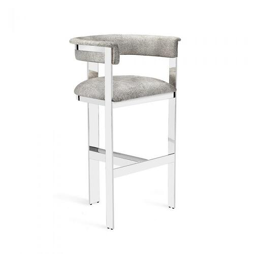 Darcy Hide Bar Stool - Nickel