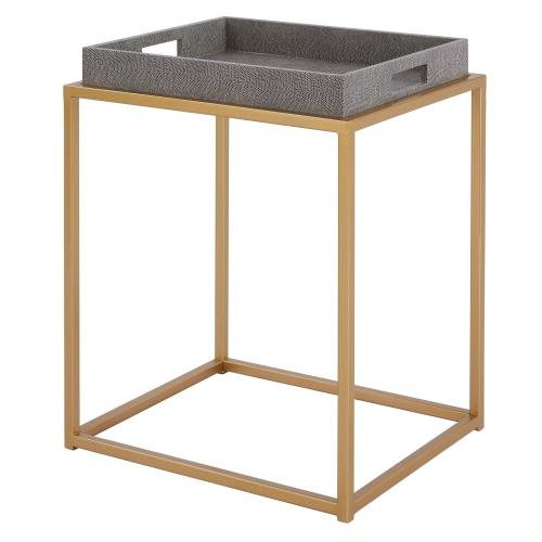 Feyre Faux Shagreen Removable Tray Side/ End Table, Chronicle Gray