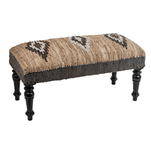 Brown & Blue Diamond Pattern Leather Chindi Bench