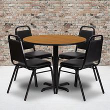 Product Image - 36'' Round Natural Laminate Table Set with X-Base and 4 Black Trapezoidal Back Banquet Chairs