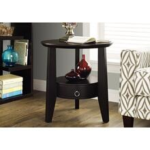 """ACCENT TABLE - 23""""DIA / ESPRESSO WITH 1 DRAWER"""