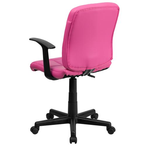 Gallery - Mid-Back Pink Quilted Vinyl Swivel Task Office Chair with Arms