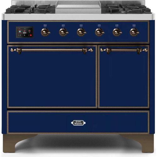 Ilve - Majestic II 40 Inch Dual Fuel Liquid Propane Freestanding Range in Blue with Bronze Trim