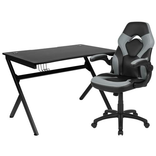Gallery - Black Gaming Desk and Gray\/Black Racing Chair Set with Cup Holder, Headphone Hook & 2 Wire Management Holes