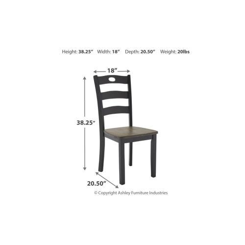 Froshburg Dining Room Side Chair Grayish Brown/Black