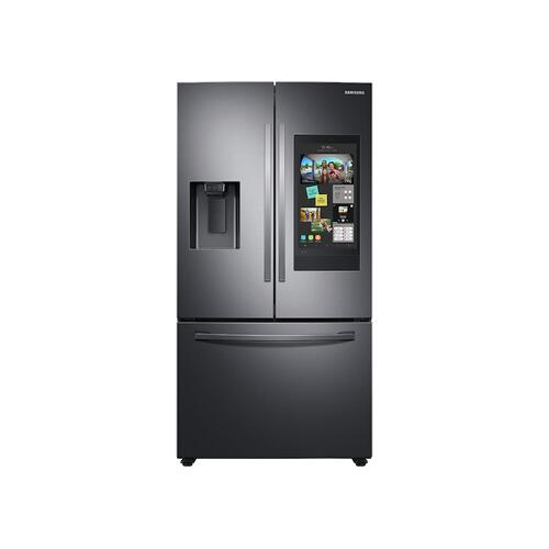 Samsung - 26.5 cu. ft. Large Capacity 3-Door French Door Refrigerator with Family Hub™ and External Water & Ice Dispenser in Black Stainless Steel