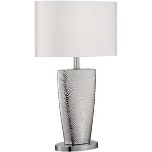 Table Lamp, Chrome Finished/silver Fabric Shade, E27 Cfl 13w