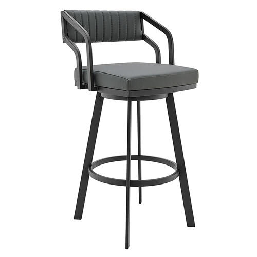 """Capri 26"""" Counter Height Swivel Barstool with Black Finish and Slate Grey Faux Leather"""