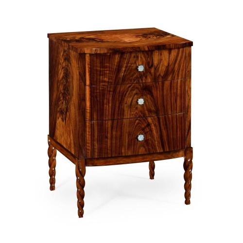 Chest of drawer with walnut twisted legs
