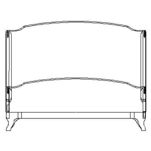 US Cali King Louis XV bed (Mahogany/Velvet calico)