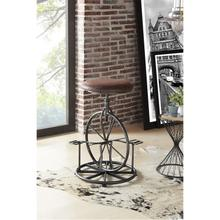 Armen Living Harlem Adjustable Industrial Metal Bicycle Barstool in Industrial Gray finish with Wrangler Fabric