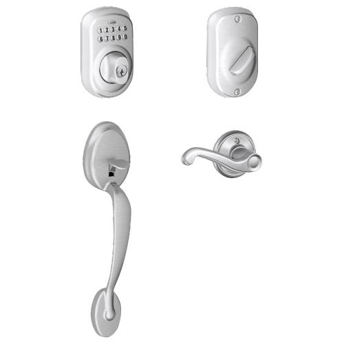 Schlage - Plymouth Style Keypad Deadbolt and Handleset with Flair Lever - Satin Chrome