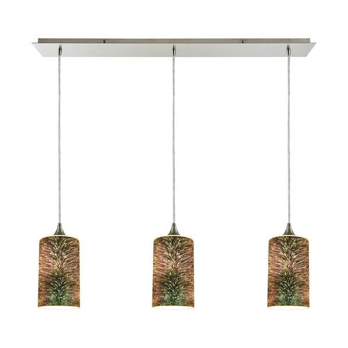 Illusions 3-Light Linear Mini Pendant Fixture in Satin Nickel with 3-D Starburst Glass