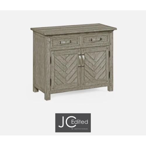 Cabinet or dresser base with strap handles in rustic grey