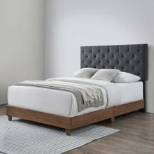 Rhiannon Diamond Tufted Upholstered Fabric Queen Bed in Walnut Gray