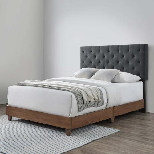 Modway - Rhiannon Diamond Tufted Upholstered Fabric Queen Bed in Walnut Gray