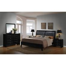 5pc Wood Leather Bed Room Set (QUEEN & KING Bed Dresser Mirror 2 Night Stands), King