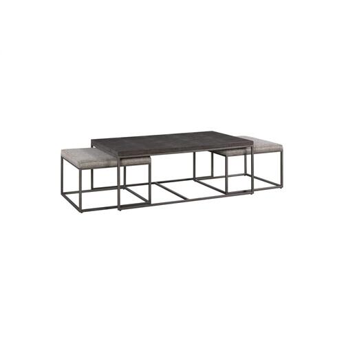 7638 Cocktail Table with Nesting Ottomans