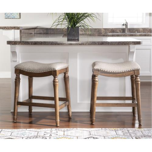 Saddle Seat Counter Stool, Brown and Grey
