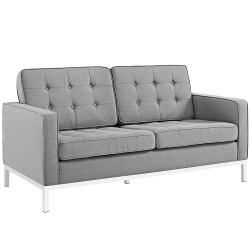 Loft Living Room Set Upholstered Fabric Set of 2 in Light Gray