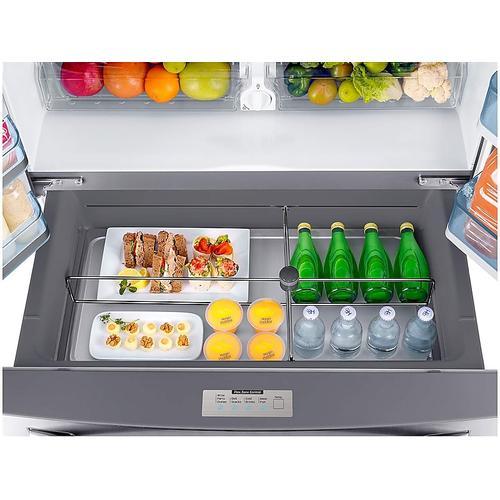 Samsung - 22 cu. ft. Food Showcase Counter Depth 4-Door French Door Refrigerator in Stainless Steel