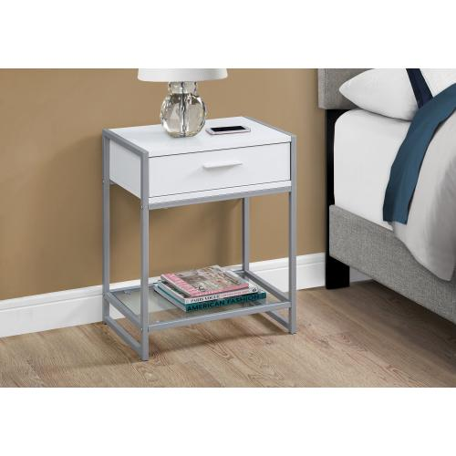 """Gallery - ACCENT TABLE - 22""""H / WHITE/ SILVER METAL/ TEMPERED GLASS"""