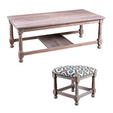 See Details - Rectangular Cocktail Table with Nesting Stools