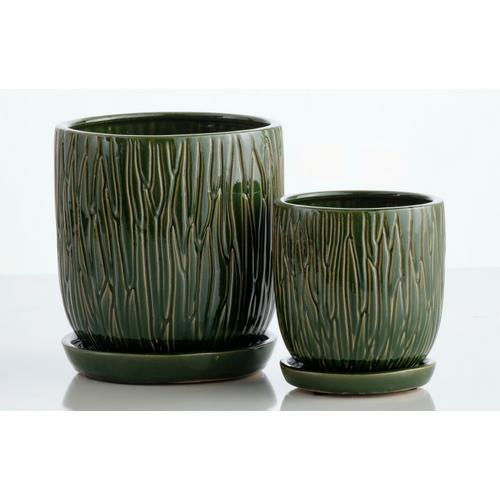 Alfresco Home - Forrest Carved Petit Pots w/attchd saucer set 2min4 sets