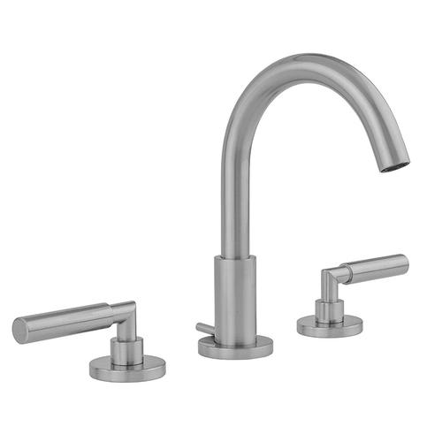Polished Brass - Uptown Contempo Faucet with Round Escutcheons & Contempo Slim Lever Handles- 0.5 GPM
