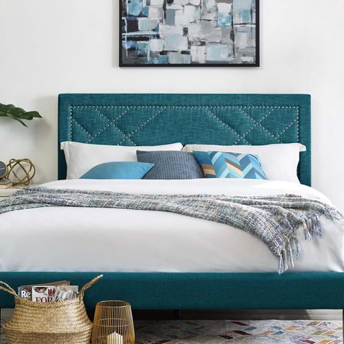 Modway - Reese Nailhead Full / Queen Upholstered Linen Fabric Headboard in Teal
