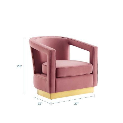 Modway - Frolick Performance Velvet Armchair in Dusty Rose