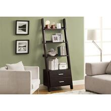 "BOOKCASE - 69""H / ESPRESSO LADDER W/ 2 STORAGE DRAWERS"