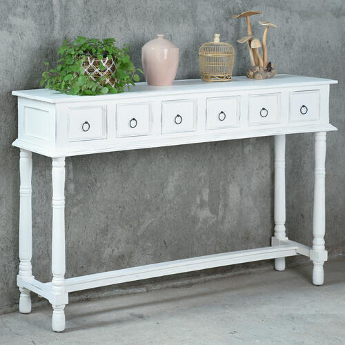 Console Table - Distressed White
