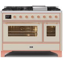 Majestic II 48 Inch Dual Fuel Natural Gas Freestanding Range in Antique White with Copper Trim