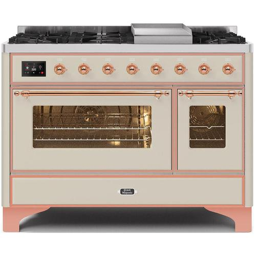Ilve - Majestic II 48 Inch Dual Fuel Natural Gas Freestanding Range in Antique White with Copper Trim