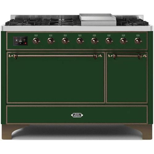 Ilve - Majestic II 48 Inch Dual Fuel Natural Gas Freestanding Range in Emerald Green with Bronze Trim
