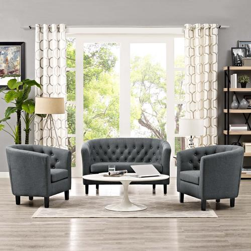 Prospect 3 Piece Upholstered Fabric Loveseat and Armchair Set in Gray