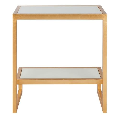 Kennedy Mirror Top Gold Accent Table - Gold / White