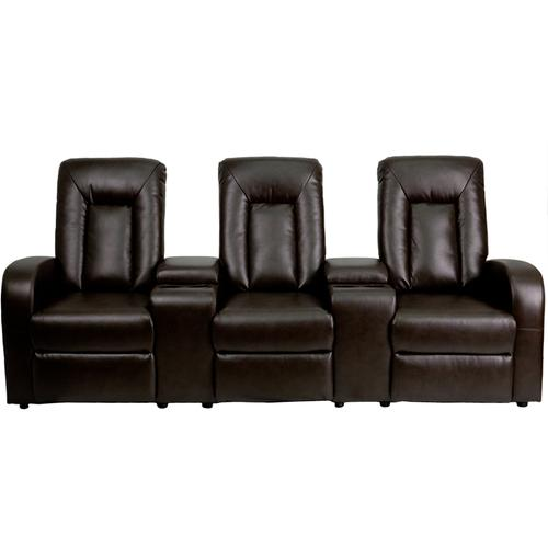 Flash Furniture - Eclipse Series 3-Seat Reclining Brown LeatherSoft Theater Seating Unit with Cup Holders