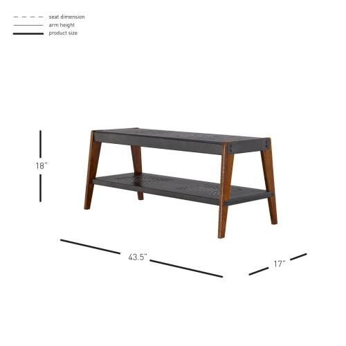 Novak KD Bench, Metallic Gunmetal/ Walnut