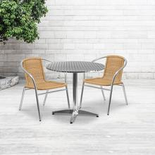 See Details - 31.5'' Round Aluminum Indoor-Outdoor Table Set with 2 Beige Rattan Chairs