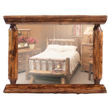 "Half-Log Mirror - 32"" x 36"" - Vintage Cedar"