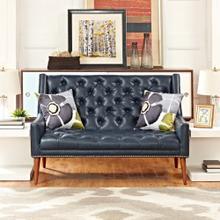 See Details - Peruse Upholstered Vinyl Loveseat in Blue