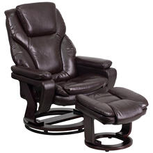Contemporary Multi-Position Recliner and Ottoman with Swivel Mahogany Wood Base in Brown LeatherSoft