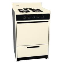 """See Details - Bisque gas range in slim 24"""" width with pilot light ignition; replaces STM610"""